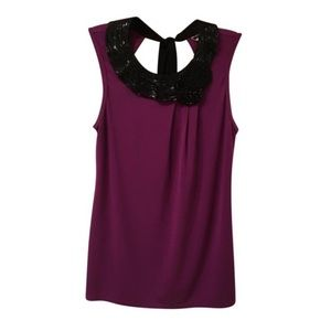 Trina Turk NWOT Magenta w/ Black Collar Sleeveless